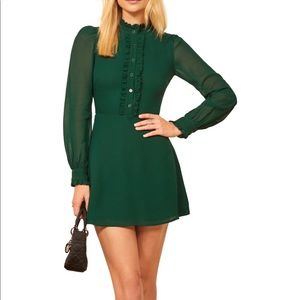 New Reformation Mathilda Emerald Mini Dress 12